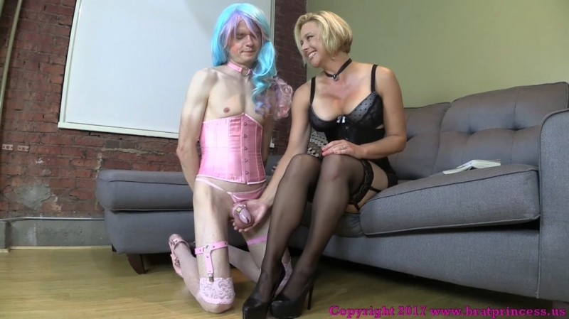 Brianna - Mother Encourages Sissified Son To Appreciate Stockings With Over Knee Spanking (Femdom) BratPrincess.us [FullHD 1080p] (2018)