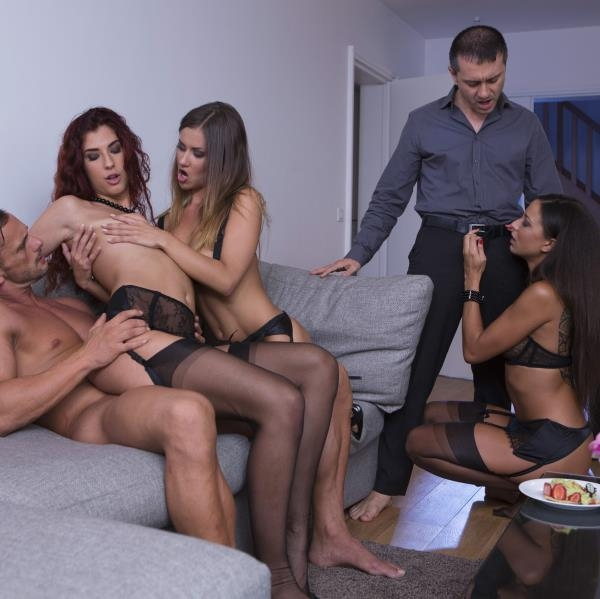Perverse orgy with 3 hot girls (Teen, Young) Mina Sauvage, Shona River, Cassie Del Isla [SD] (2018)