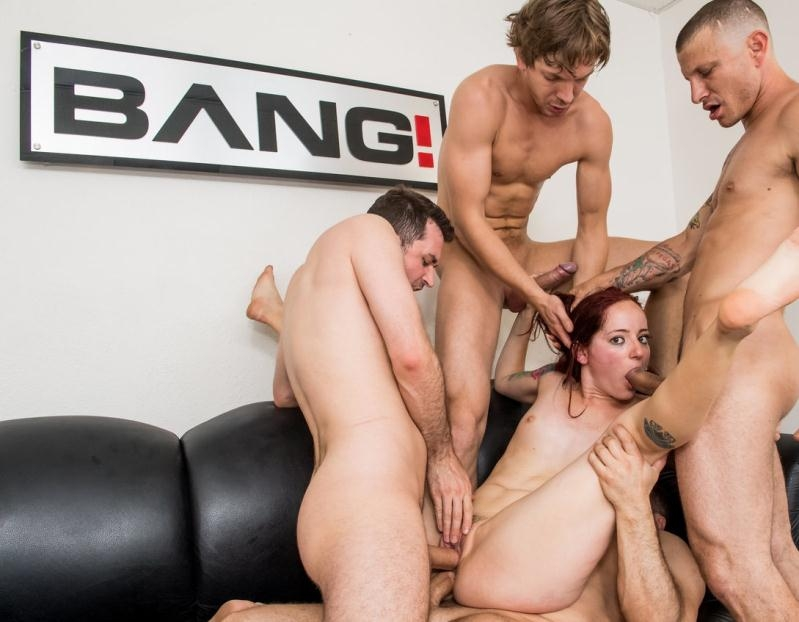 Ariel Blue - Redhead Ariel Blue Gets Throat Fucked And Double Penetrated In A Gangbang (Group, Gang Bang) Bang.com [HD 720p] (2017)